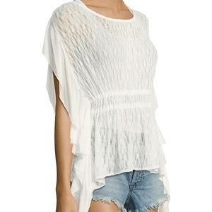 FP June lace Top NWT Ivory flutter sleeve